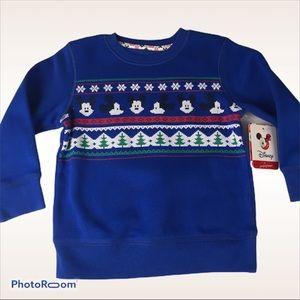 Disney Mickey Sweatshirt Blue Holiday NWT Sz 2T